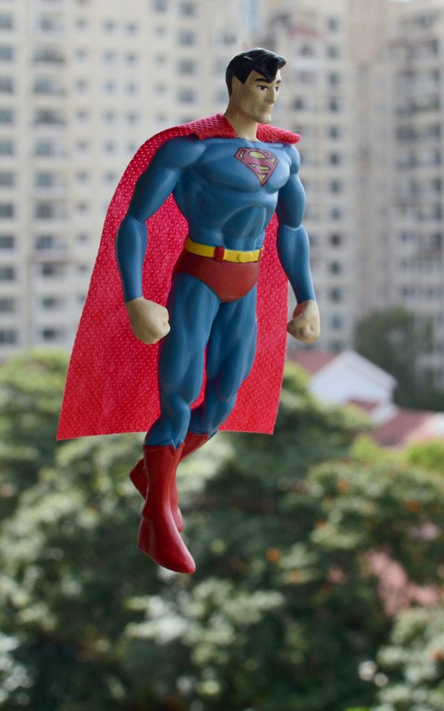 Bendable Superman Figure Photography