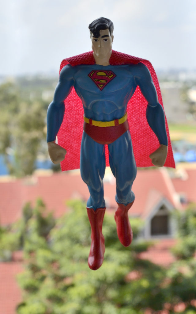 Bendable Superman Figure Inflight Photography