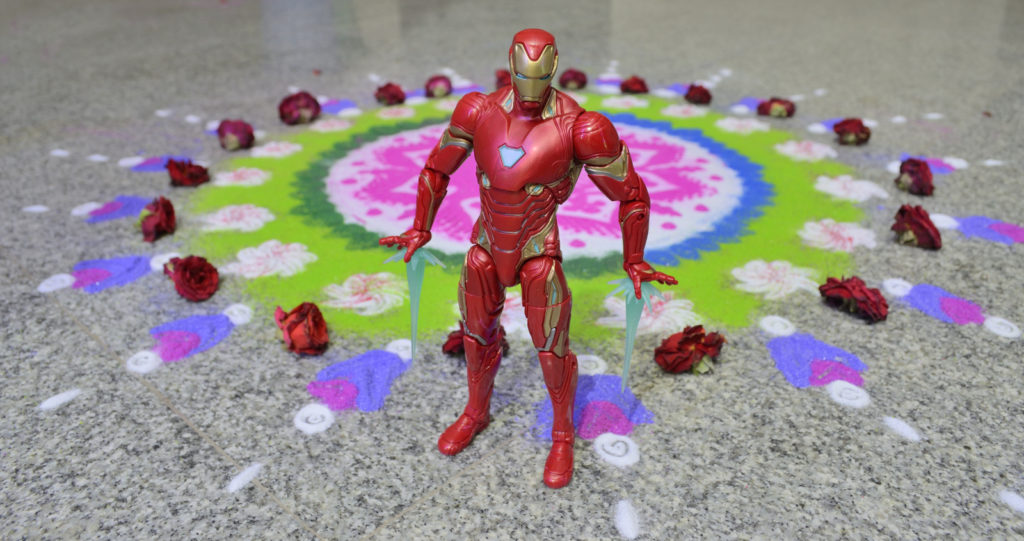 Diwali Rangoli and Iron Man