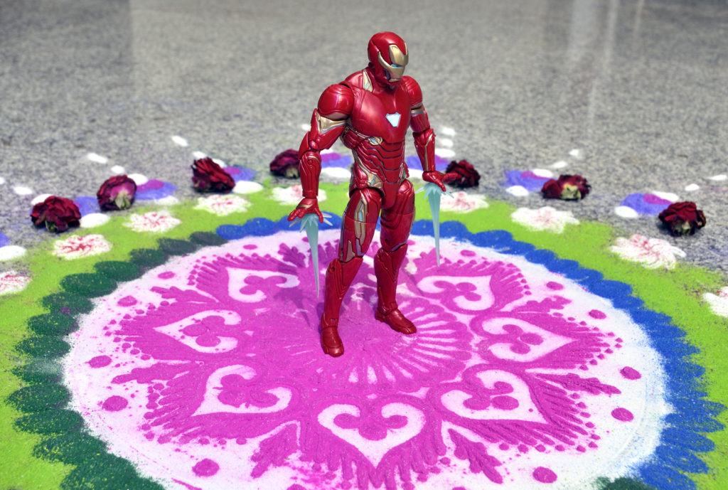Iron Man in Diwali Rangoli